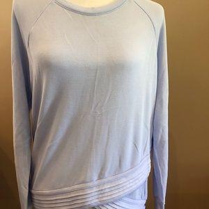Athleta Serenity Criss Cross Light Blue Sweatshirt, Size M